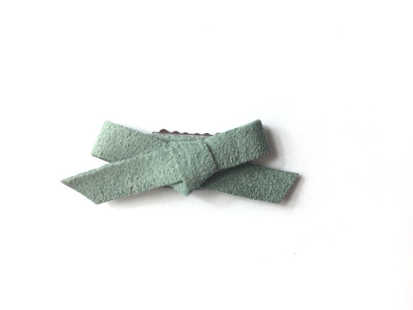 Mini Latch Clip - Hand Tied Faux Suede Hair Bows - Lichen Green - Baby Wisp
