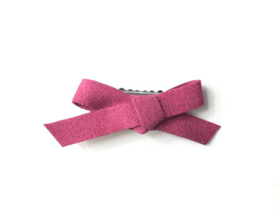 Mini Latch Clip - Hand Tied Faux Suede Bow - Dark Pink - Baby Wisp