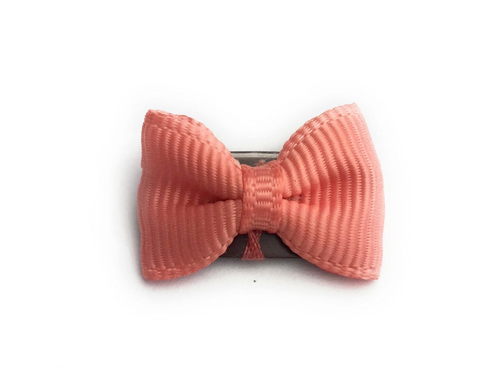 Mini Latch Tuxedo Grosgrain Bow - Light Coral - Baby Wisp