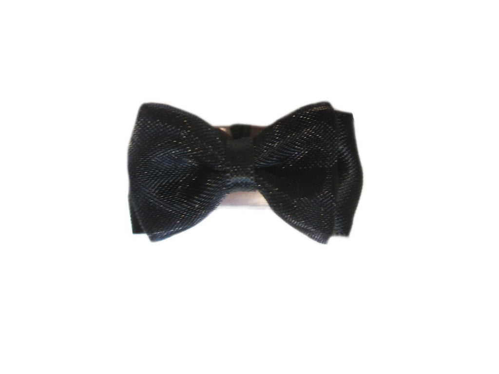 Mini Latch Tuxedo Fancy Hair Bow - Black - Baby Wisp