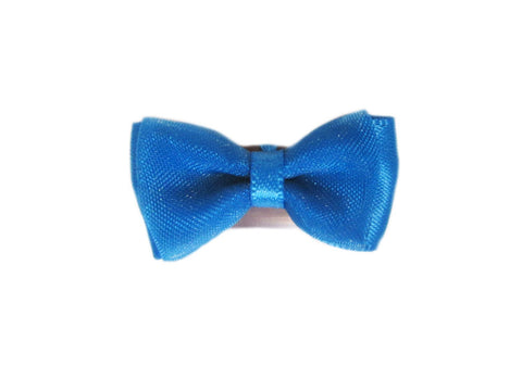 Mini Latch Tuxedo Fancy Hair Bow - Dress Blue