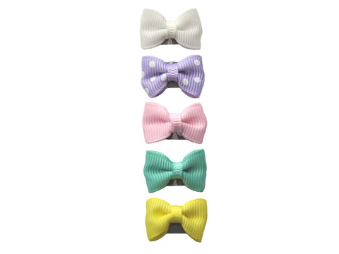 5 Mini Latch Wisp Clip Tuxedo Grosgrain Bows -Easter Bow Hunt Girl Gift Set - Baby Wisp