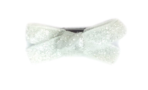 Mini Latch Glitter Velvet Boutique Bow - Baby Wisp