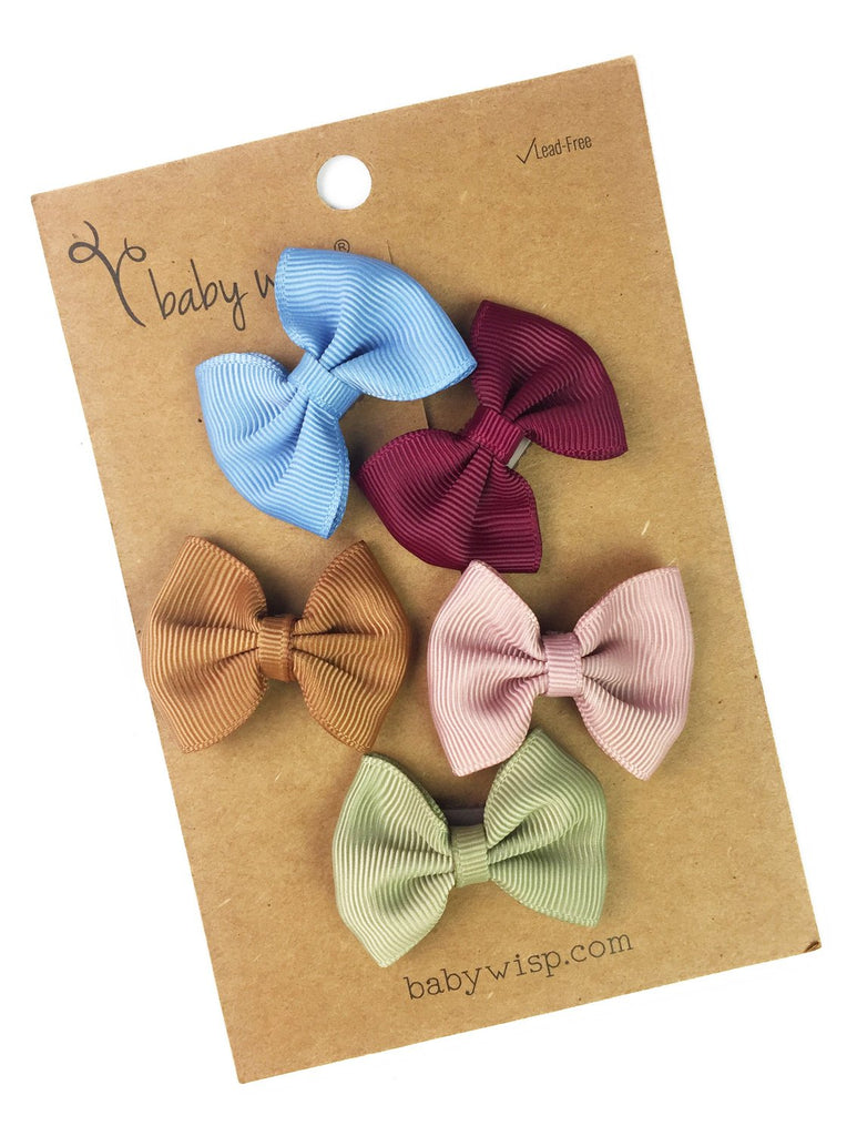 5 Mini Latch Wisp Clip Classic Fan Out Bows Gift Set - Baby Wisp