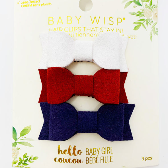 3 Mini Wisp Clip Hair Bow Set - Faux Suede Patriot - Baby Wisp