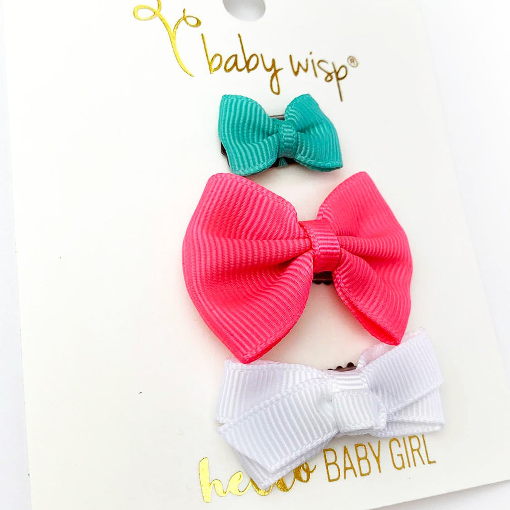 3 Mini Latch Wisp Clip Bows - Tropical - Baby Wisp