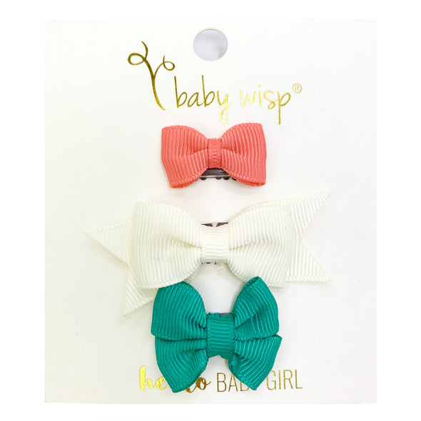 3 Mixed Mini Wisp Clip Sets - Spring Hair Bows - Baby Wisp