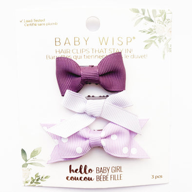 3 Wisp Clip Gift Sets for Baby Girl Mixed Style Bows - Baby Wisp