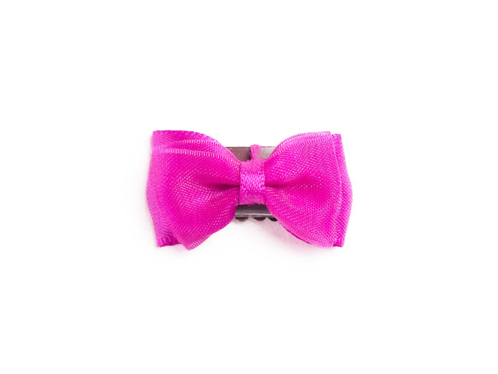 Mini Latch Tuxedo Fancy Hair Bow - Magenta Garden Rose - Baby Wisp