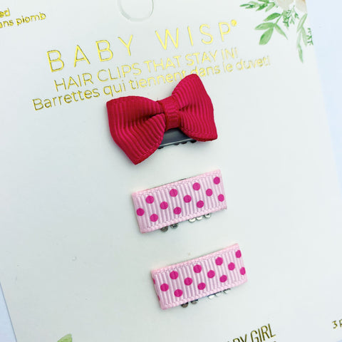 Mini Latch Wisp Clip Set - Summer Polka Dot Bows