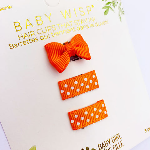 Mini Latch Wisp Clip Set - Orange Polka Dot Bows