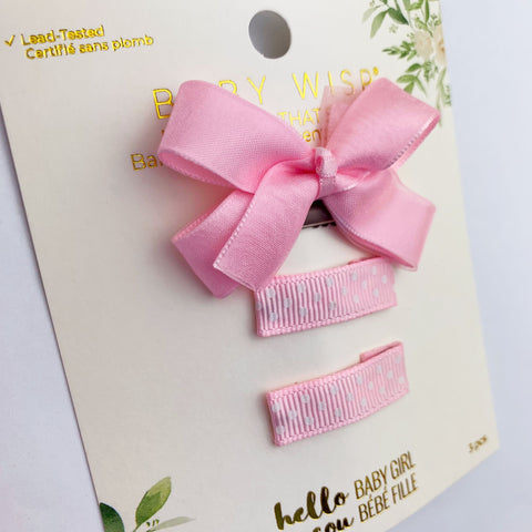 Mini Latch Wisp Clip Boutique Bow and Ribbon Snap Clip Gift Set