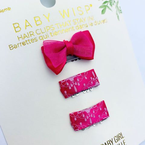 Mini Latch Wisp Clip Set - Satin Bow and Ribbon Clips