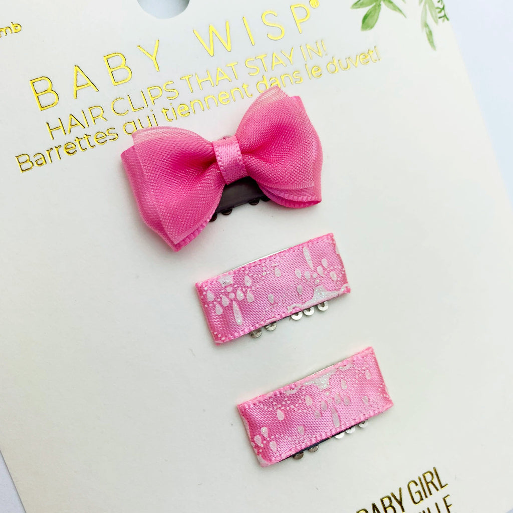 SWEET BOWS FOR BABY GIRL ON WISP CLIP FOR FINE HAIR