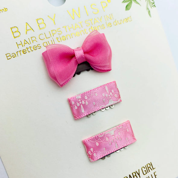 Mini Latch Wisp Clip Set - Satin Bow and Ribbon Clips - Baby Wisp