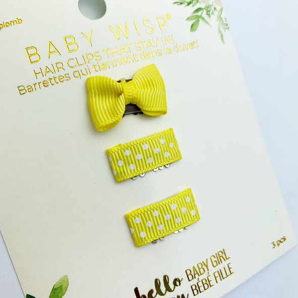 Mini Latch Wisp Clip Set - Polka Dot Bows - Baby Wisp