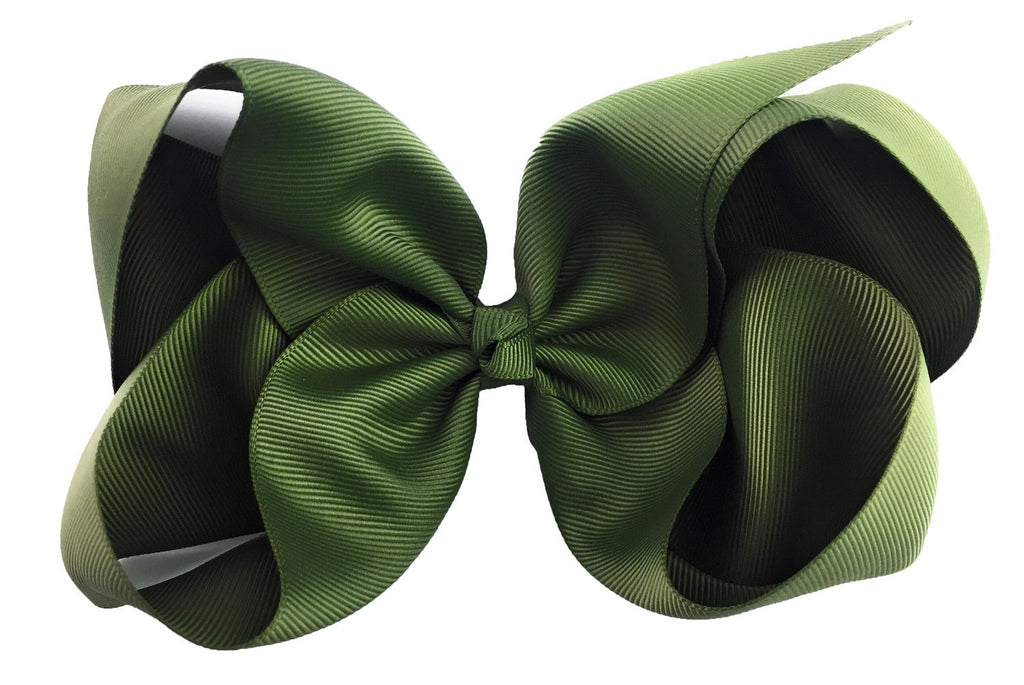 Nicki Bow Pinch Clip - Green Moss - Baby Wisp