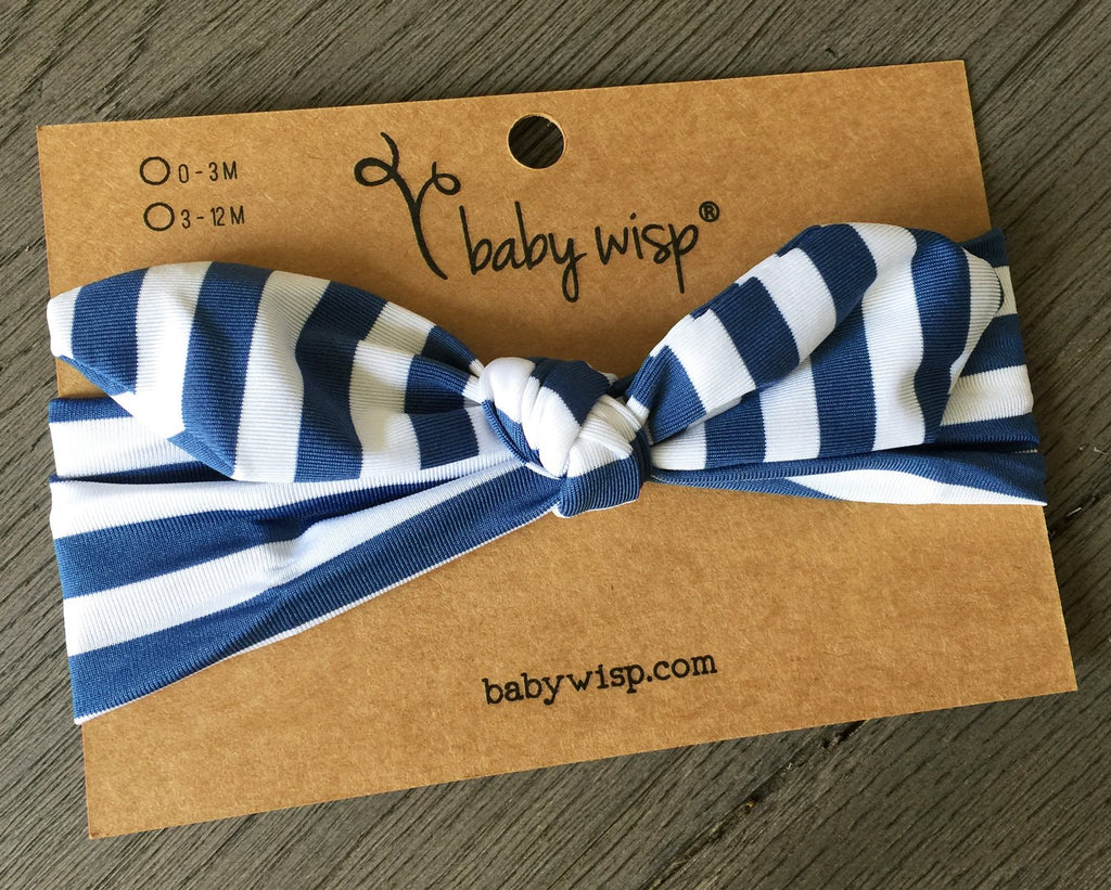 Bunny Ears Stripes Top Knot Headband - Navy - Baby Wisp