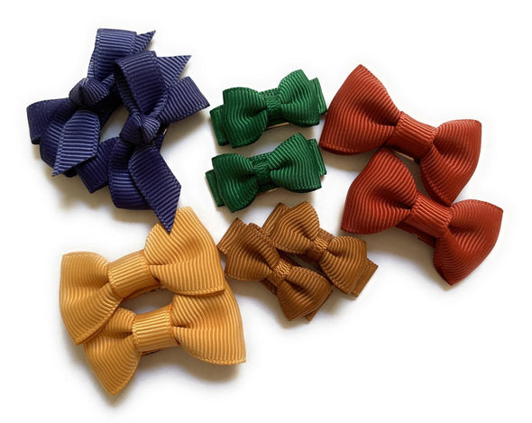 10 Hair Bows Snap Clip Set - Perfect for Autumn - Baby Wisp