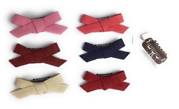 Mini Latch Clip - Hand Tied Faux Suede Hair Bows - Baby Wisp