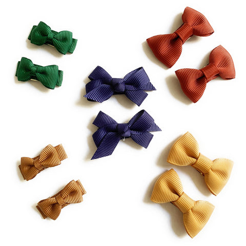 10 Hair Bows Snap Clip Set - Perfect for Winter - Baby Wisp