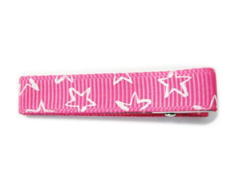 Stars Ribbon Pinch Clip - Baby Wisp - pink