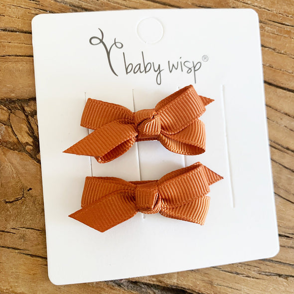 Chelsea Boutique Bow - 2 pack -Nutmeg - Baby Wisp