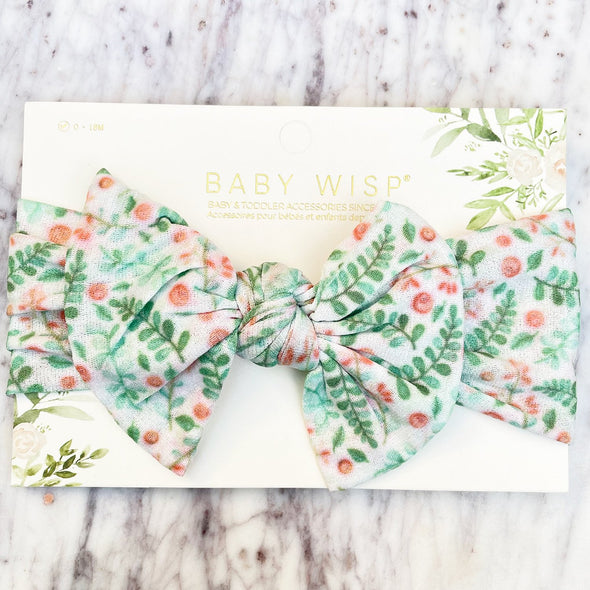 Infant Headwrap Nylon Bow Floral Headband - Green Floral - Baby Wisp