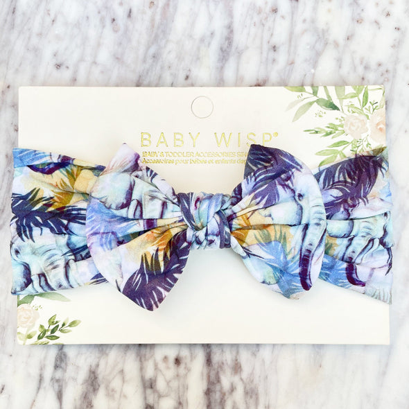 Infant Headwrap Nylon Bow Headband - Blue Palm Leaves - Baby Wisp
