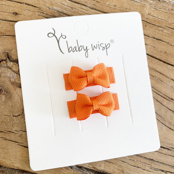 Grosgrain Tuxedo Bow Barrettes - 2 Orange Bows - Baby Wisp