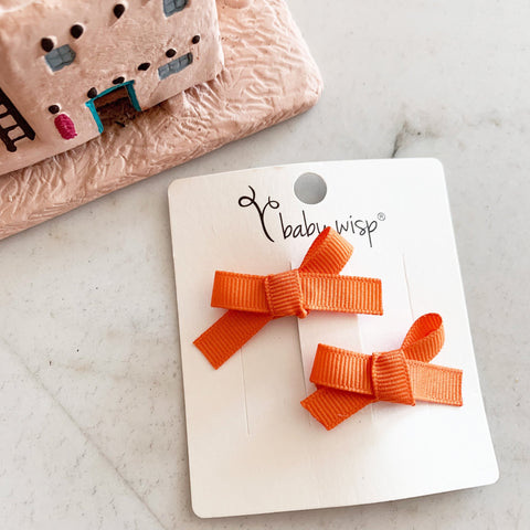Hand Tied Bow Snap Clips - Orange Ribbon Bows - Baby Wisp