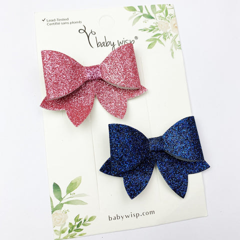 Chloe Sparkly Hair Bow Pinch Clip - Pick 2 - Baby Wisp