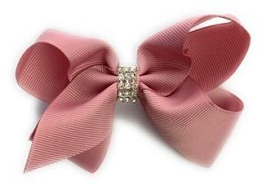 Americana Bow Pinch Clip - Rose Quartz Blush Diamond Rhinestone Bling - Baby Wisp