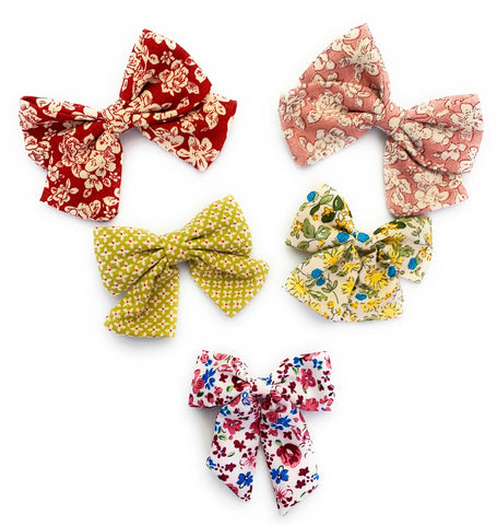 5 Vintage Oversized Sailor Bows Pinch Clip Collection (perfect for girls back to school) - Baby Wisp