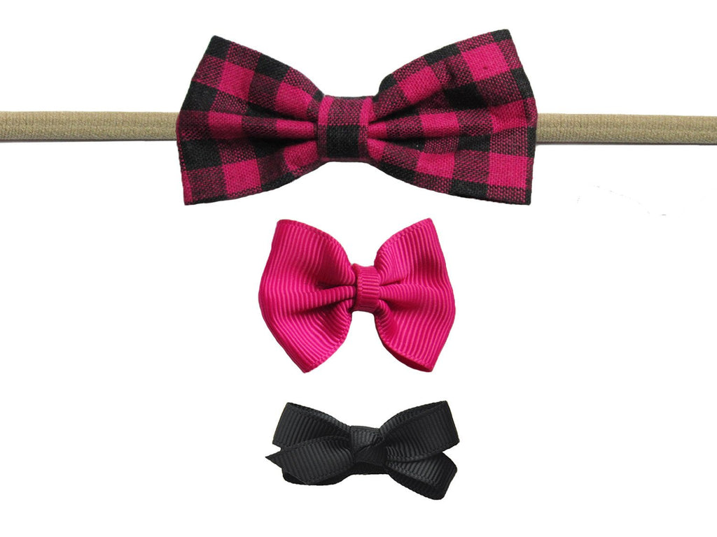 Plaid Tuxedo Fabric Bow Headband and Clips Set - Baby Wisp