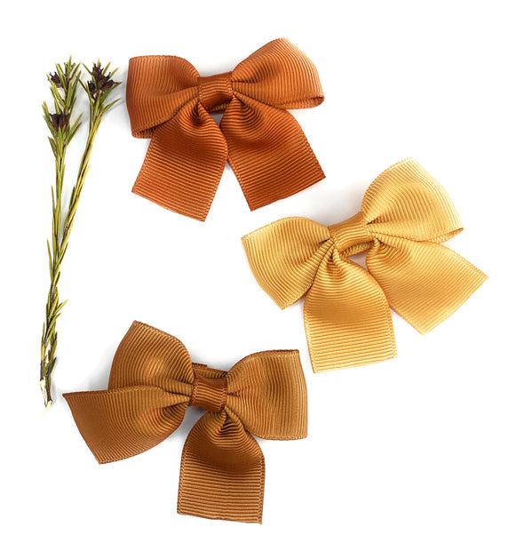 Fall Bows 3 Pollyanna Toddler Bows - Alligator Hair Clip - Baby Wisp