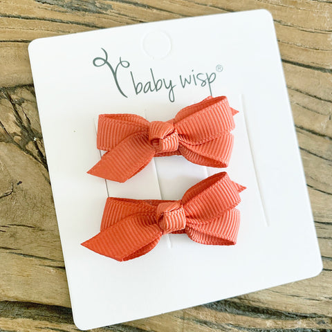 Small Snap Chelsea Boutique Bow - 2 pack -Pumpkin Spice