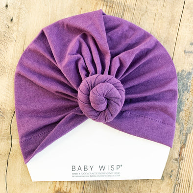 Infant Turban Knot Hat - Eggplant - Baby Wisp