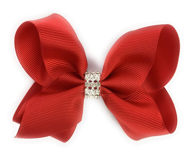 Americana Bow Pinch Clip - Diamond Rhinestone Bling - Red - Baby Wisp