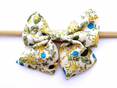 Oversized Vintage Fabric Bow Headband - Retro Bouquet Sailor Bow - Baby Wisp