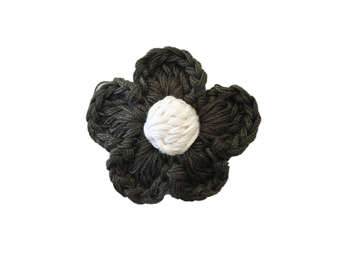 Small Snap Blossoms Crocheted Flower Clip - Sage Green and Ivory