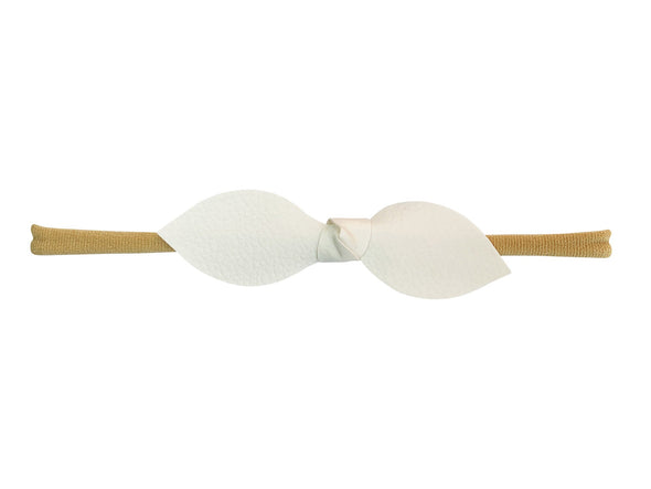 Faux Leather Tie Knot Bow - Baby Headband - White - Baby Wisp