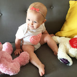Skinny Velvet Bow - 2 Infant Headbands - Peach and Coral