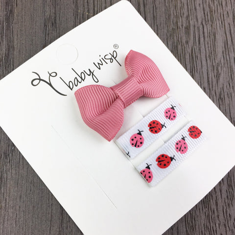 Small Snap Charlotte Bow and Ribbon Clips Gift Set - Baby Wisp