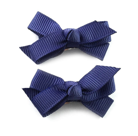Small Snap Chelsea Boutique Bow - 2 pack - Ink Blue - Baby Wisp