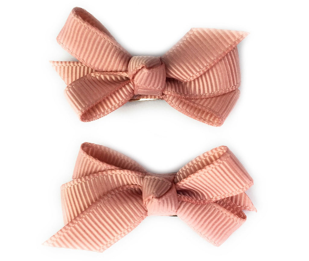Small Snap Chelsea Boutique Bow - 2 pack - Rose Taupe - Baby Wisp