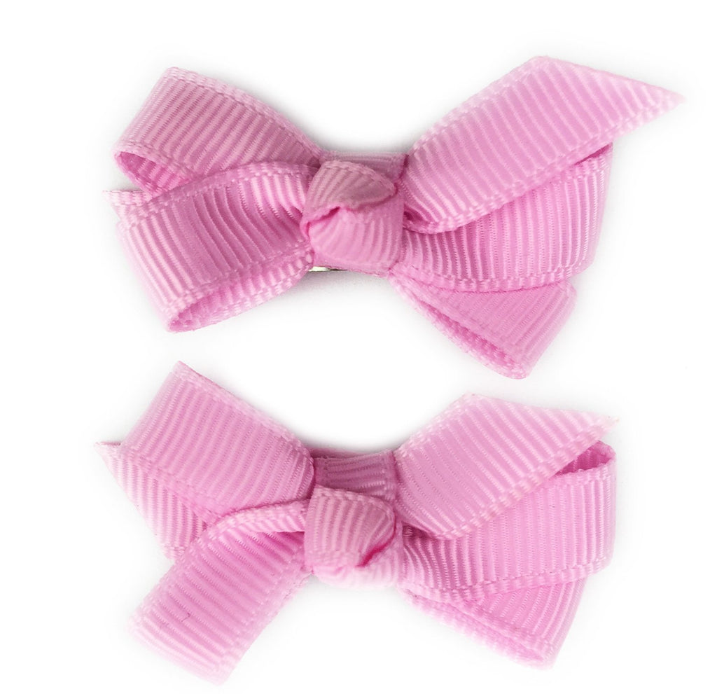 Small Snap Chelsea Boutique Bow - 2 pack - Tulip Pink - Baby Wisp