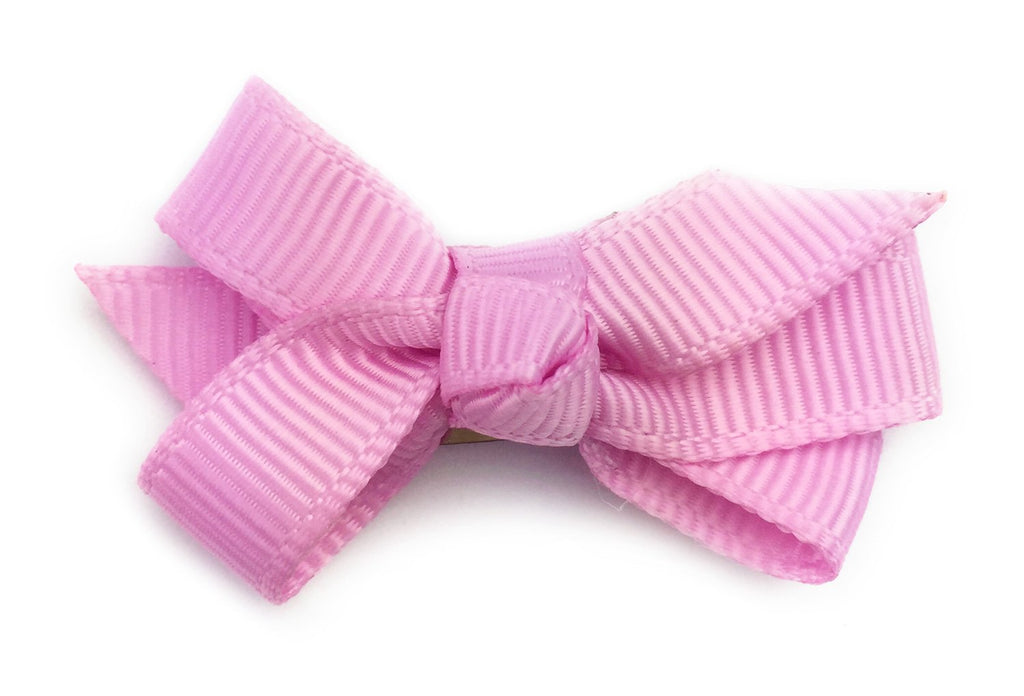 Small Snap Chelsea Boutique Bow - Single Hair Bow - Tulip Pink - Baby Wisp