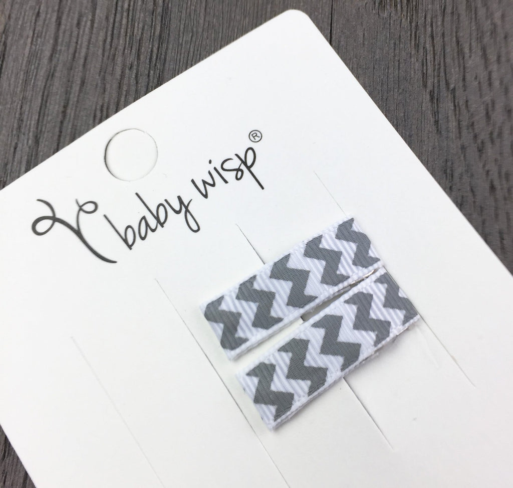 Small Snap Ribbon Hair Clip - White Chevron - Baby Wisp