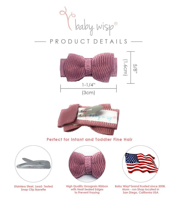 3 Spring Bow Snap Clips - Classic Bow and Patterned Ribbon Clips - Baby Wisp